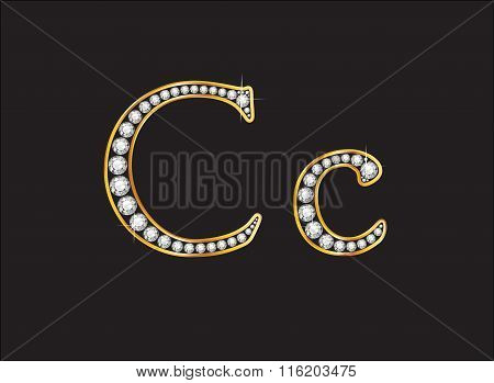 Cc Diamond Jeweled Font With Gold Channels
