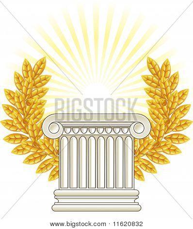 Antique Greek Column And Gold Laurel