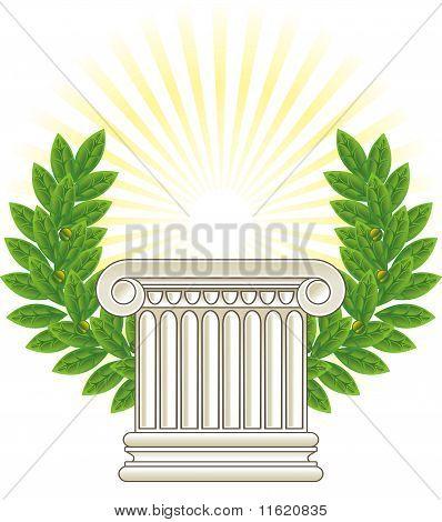 Antique Greek Column And Green Laurel.