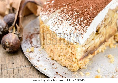 Banoffee pie on wooden table