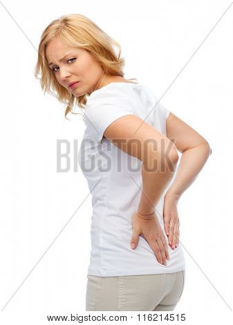 unhappy woman suffering from backache