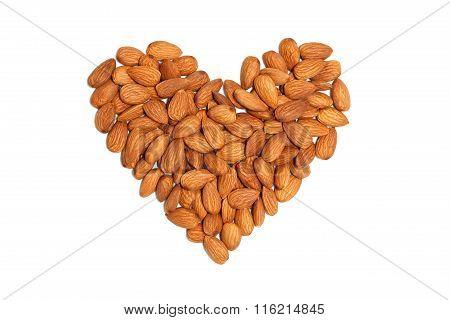almond heart nut fruit organic healthy vegan white background vegetarian oil milk snack vegetable poster