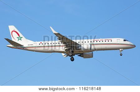 ZURICH - JULY 18: Embraer 190 Royal Air Maroc landing in Zurich on July 18, 2015 in Zurich, Switzerland. Zurich airport is home for Swiss Air and one of biggest european hubs.