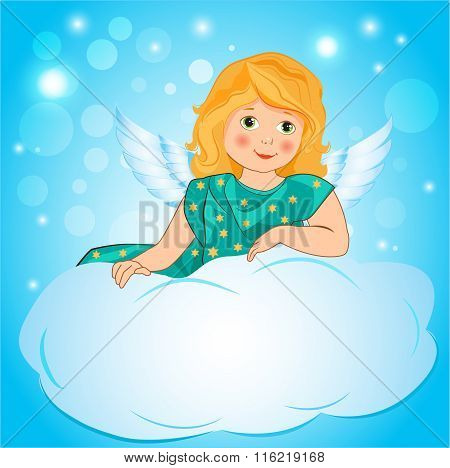 Illustration A Little Girl Angel Wings On A Cloud. Cute Fairy Cartoon Greeting Card. Girl Angel Costume. Girl Angel Designs. Girl Angel Wings. Girl Angel Emoji. Girl Angel From Supernatural.