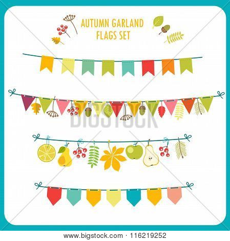 Autumn Garland And Flags Set. Festive Clip Art. Vector On White Background. Garland Rug.