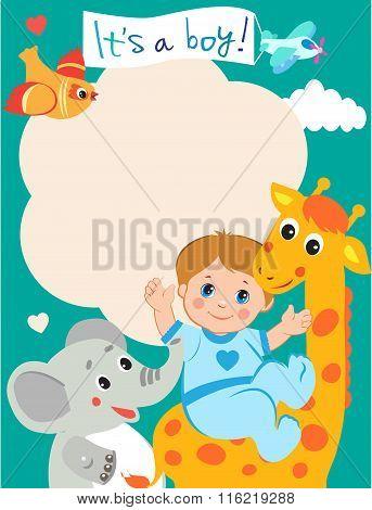 Baby Boy Shower Invitation Card With Funny Giraffe, Elephant And Bird. Vector Cartoon Illustration. Invitation Card Template. Invitation Card Design. Invitation Card Ideas. Invitation Card Sample.
