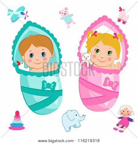 Baby Girl And Baby Boy. Cartoon Vector On A White Background. Baby Girl Clothes. Baby Girl Toys. Baby Girl Dresses. Baby Girl Games. Baby Girl Meme. Baby Girl Emoji. Baby Boy Games.