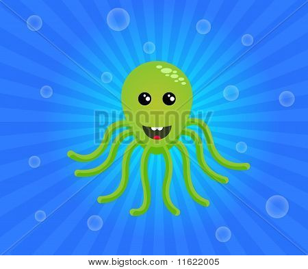 Green octopus on a blue, like water, striped background with bubbles. poster
