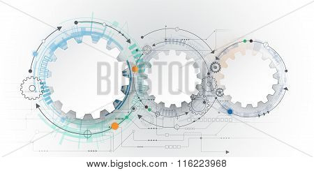 3D White Paper Gear Wheel On Circuit Board