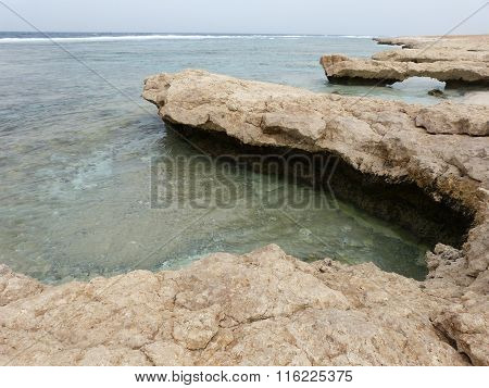Beach sea shore with rocks and waves