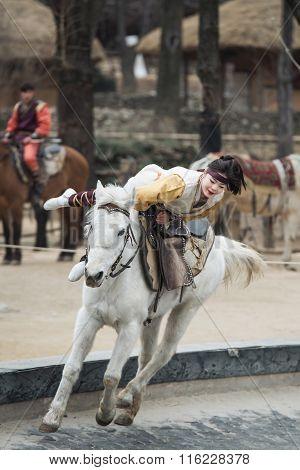 Seoul, South Korea - January 28, 2016: Participant A The Equestrian Feats Act, A Short Acrobatic Hor