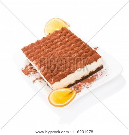Delicious Tiramisu Dessert Isolated On White.