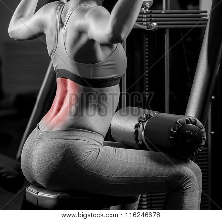 Woman exercising in sports club