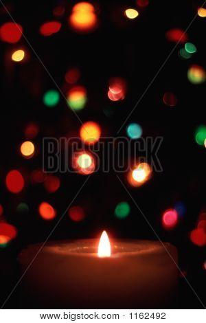 Candle & Christmas Lights