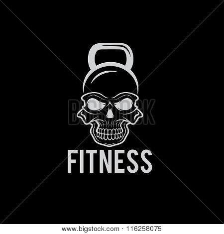 Skull In The Form Of Kettlebell Fitness Concept