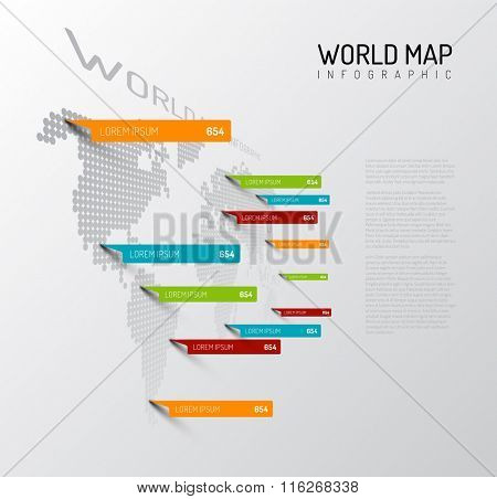 Light World map infographic template with pointer marks (vertical on the wall version)