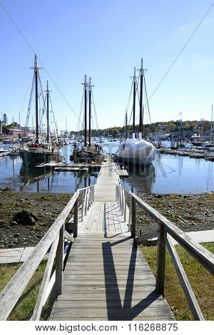 Long Wood Dock By Harbor