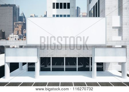 Blank White Billboards In Financial District Of Megapolis City At Sunrise, Mock Up