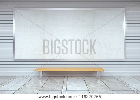 Blank billboard on the wall and wooden bench in empty hall mock up