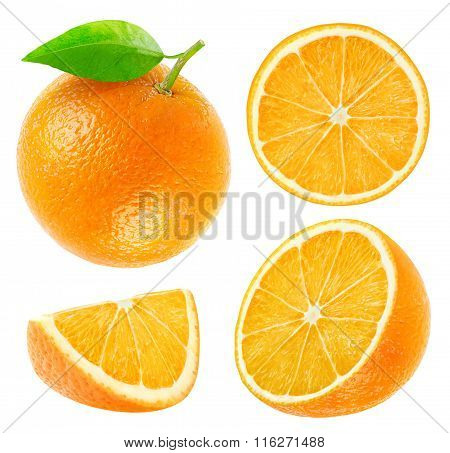 Collection Of Isolated Whole And Cut Oranges