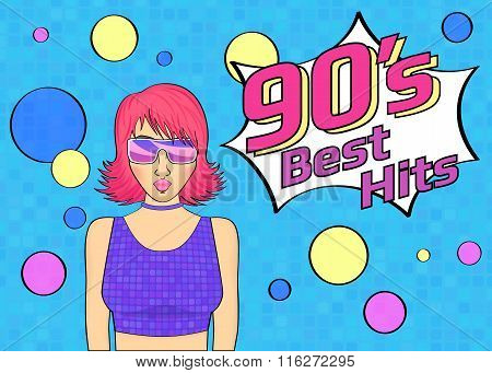 Best hits of 90s illistration with disco woman wearing glasses and pink hair on blue background