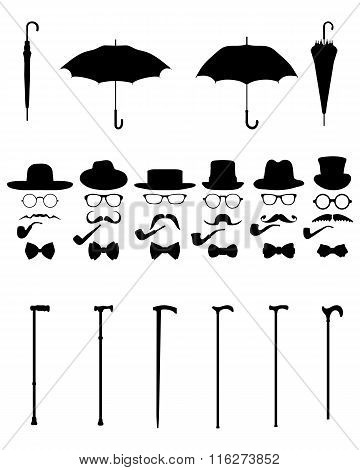 Gentleman icon set vector, isolated vintage and retro poster