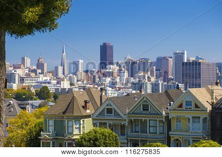 The Painted Ladies Of San Francisco on Alamo Square Victorian Houses, California