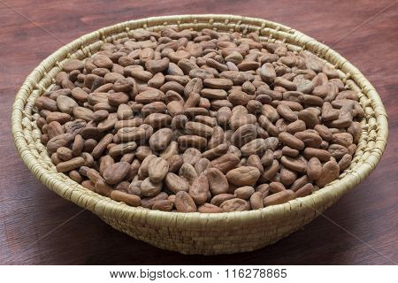 Basket Of Raw Cacao Beans