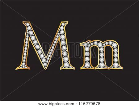 Mm Diamond Jeweled Font With Gold Channels