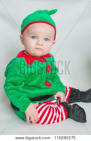 Little Boy Dressed As An Elf