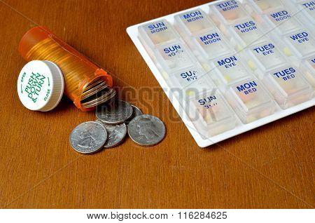 Pillbox with medicine bottles.
