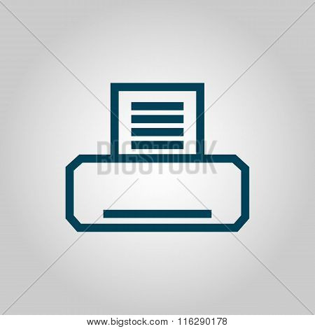 Fax Blue Icon On Grey Background