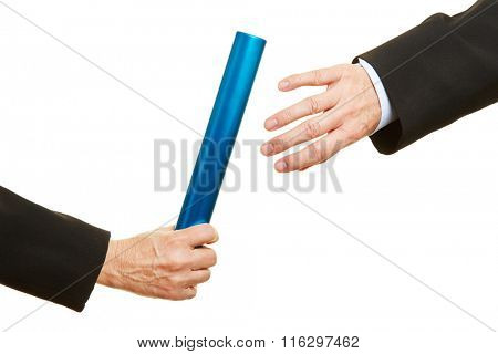 Hand offering and taking a relay baton during race