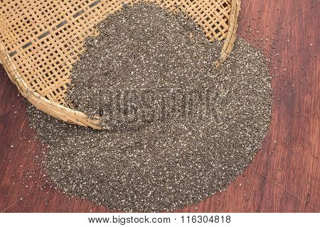 Pile Of Chia Seeds And Traditional Sifter