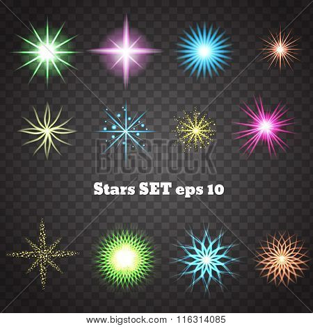 Color Stars With Glitters And Sparkles