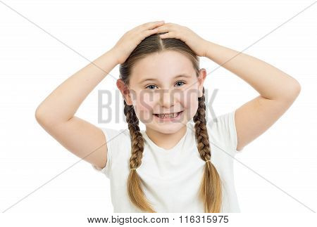 The Girl Holds Hands On The Head