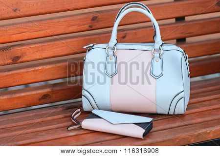 Two Handbags On A Bench In Street