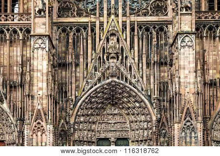 Church Sculptures On Strassbourg Cathedral