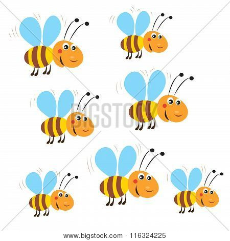 Funny Flying Bees. Isolated Vector On A White Background. Bee. Bee Toy. Bee Costume. Honey Bees.