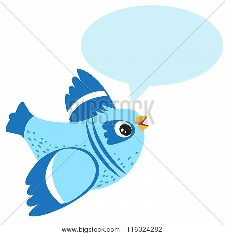 Talking Blue Bird. Vector Illustration on a White Background. Talking Bird Toy. Talking Bird Pets. Funny Talking Bird. Blue Bird Swearing. Blue Bird Animal Totem. Sitting Bird. Stupid Bird.