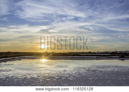 Sunset Landscape View Of Ria Formosa Wetlands Natural Conservation Region, Inactive Salt Marsh