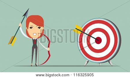 Business woman shooting target