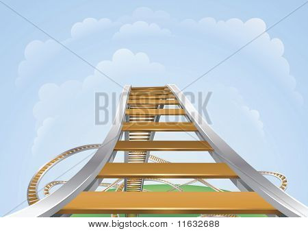 Illustration of a roller coaster from the highest view. Conceptual highs and lows or fear and trepidation. poster