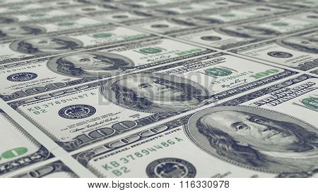 Sheet Of 100 Dollar Notes