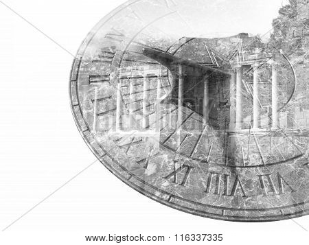 Marble sundial and old column building double exposure black and white poster