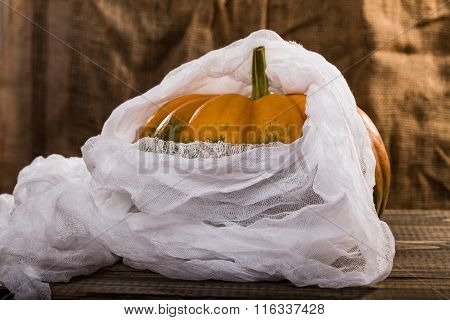 Big Pumpkin With Cheesecloth