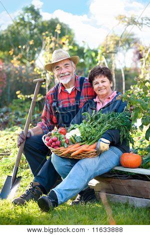 senior couple in the garden