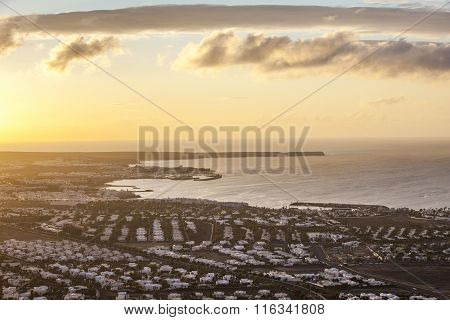 aerial view of Playa Blanca early morning