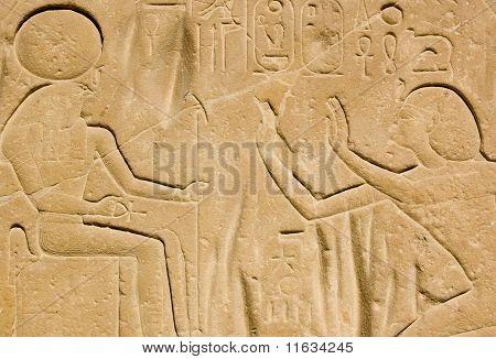 Pharoah Seti I and Horus
