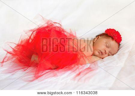 Black Newborn Baby Wearing Red Tutu Skirt